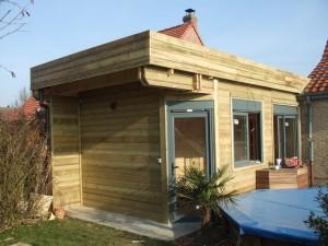 extension en bois avec toit terrasse destombes. Black Bedroom Furniture Sets. Home Design Ideas