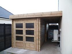 Abri de jardin en bois adossable à la maison, à un mur