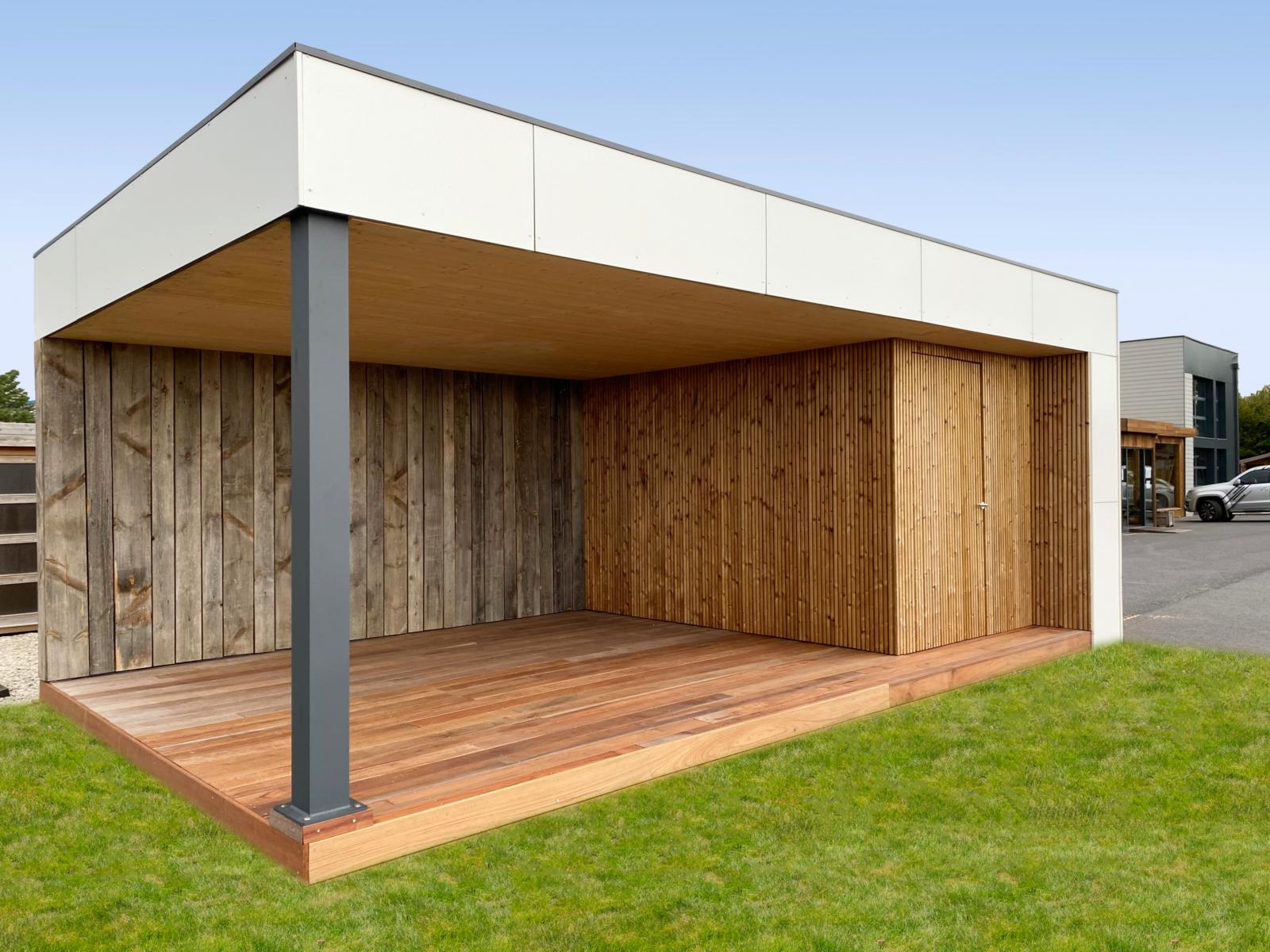 Pool-House ouvert bardage alu dibond / vieux bois / épicéa rétifié | Plancher IPE