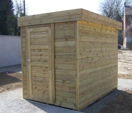 Abri jardin Contemporain en bois autoclave avec toiture en bac acier